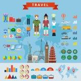 Konzept-Netzschablone Reiseleute infographics Erbauers flache Stockfotografie