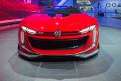Konzept 2015 offenen Tourenwagens Volkswagens GTI auf Anzeige Stockbild