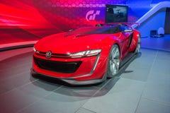 Konzept 2015 offenen Tourenwagens Volkswagens GTI auf Anzeige Stockfotografie