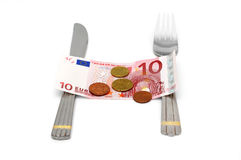 Konzept ohne Geld für Lebensmittel mit Geld und Tischbesteck Stockbild