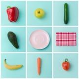 Konzept-Plakatdesign der gesunden Ernährung mit Obst und Gemüse Stockbild