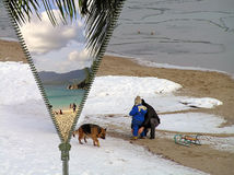 Konzept - Reise vom Winter am Sommer Lizenzfreie Stockbilder