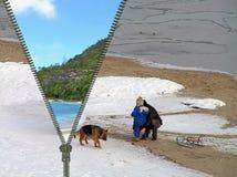 Konzept - Reise vom Winter am Sommer Lizenzfreies Stockfoto