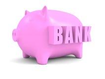 Konzept-rosa Piggy Münzen-Bank Stockfotografie