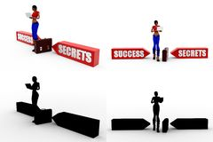 Konzept-Sammlungen Erfolg der Frau 3d geheime mit Alpha And Shadow Channel Stockfoto