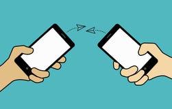 Konzept, senden Mitteilungen mit intelligentem Telefon Illustration von Handwi Vektor Abbildung