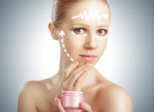 Konzept skincare. Haut der Schönheitsfrau mit Verschönerung, Plastik SU lizenzfreie stockfotografie