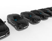 Konzept UberBLACK-Autos in Folge vektor abbildung