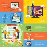 Konzept von beginnen oben, Pay per Click, seo lizenzfreie abbildung