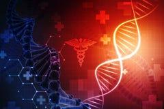 Konzept von Biochemie mit DNA-Struktur im medizinischen Hintergrund stock abbildung