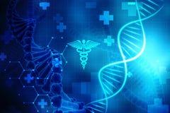 Konzept von Biochemie mit DNA-Struktur im medizinischen Hintergrund vektor abbildung
