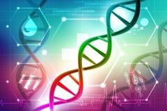Konzept von Biochemie mit DNA-Struktur im medizinischen Hintergrund lizenzfreie abbildung