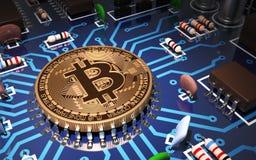 Konzept von Bitcoin mögen CPU auf Motherboard Stockfoto