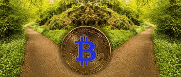 Konzept von bitcoin oder blockchain Gabel Lizenzfreies Stockfoto