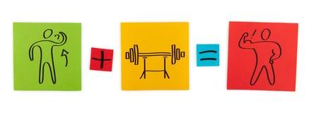 Konzept von Bodybuilding. Blätter des farbigen Papiers. Lizenzfreies Stockbild