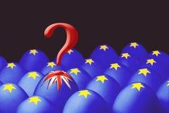 Konzept von Brexit wird von springendem Ei mit einer britischen Flagge aus dem Kasten mit Eiern mit der Flagge der Europäischen G stock abbildung