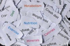 Konzept von den gelegentlichen Papieren gedruckt mit Wortnahrung, Diät, Übung, Mineralien, Abbruchsdiät, Metabolismus lizenzfreies stockbild