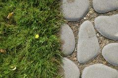 Konzept von den Steinen und von einem Gras stockfotografie