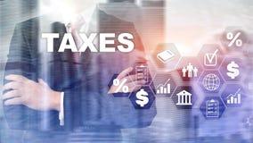 Konzept von den Steuern gezahlt durch Einzelpersonen und Gesellschaften wie Bottich-, Einkommens- und Vermögenssteuer Steuerzahlu lizenzfreie stockfotos