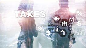 Konzept von den Steuern gezahlt durch Einzelpersonen und Gesellschaften wie Bottich-, Einkommens- und Vermögenssteuer Steuerzahlu lizenzfreies stockfoto