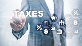 Konzept von den Steuern gezahlt durch Einzelpersonen und Gesellschaften wie Bottich-, Einkommens- und Verm?genssteuer Steuerzahlu stockbilder