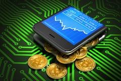 Konzept von Digital Geldbörse und Bitcoins auf grüner Leiterplatte Stockfotografie