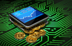 Konzept von Digital Geldbörse und Bitcoins auf grüner Leiterplatte Lizenzfreies Stockfoto