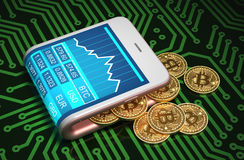 Konzept von Digital Geldbörse und Bitcoins auf Leiterplatte Lizenzfreies Stockfoto