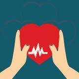 Konzept von Donate Organ, Herz in einem Handsymbol, Herzikone in r Lizenzfreie Stockbilder