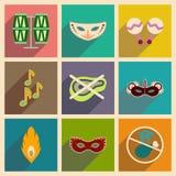 Konzept von flachen Ikonen mit langem Schatten Brasilianer-Karneval Stockfoto