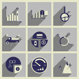 Konzept von flachen Ikonen mit langem Schatten infographics Lizenzfreie Stockbilder