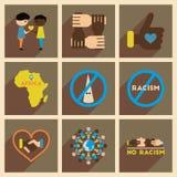 Konzept von flachen Ikonen mit langem Schatten kein Rassismus Stockfotos