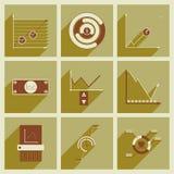 Konzept von flachen Ikonen mit langer Schatten wirtschaftlichem infographics Lizenzfreies Stockbild