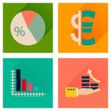 Konzept von flachen Ikonen mit langer Schattengeldwirtschaft Stockbilder