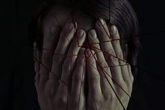 Konzept von Furcht, häusliche Gewalt stockfoto