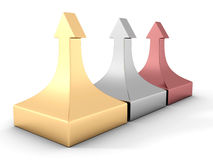 Konzept von Geschäftserfolg, veranschaulicht durch Gold-, Silber- und Bronzepfeile Lizenzfreies Stockbild
