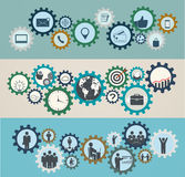 Konzept von Mechanismen mit Geschäftsikonen, Arbeitskräfte Stockfoto
