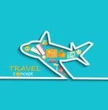Konzept von mit dem Flugzeug reisen lizenzfreie abbildung
