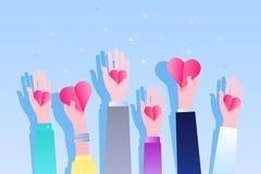 Konzept von Nächstenliebe und von Spende Geben Sie und teilen Sie Ihre Liebe zu den Leuten vektor abbildung