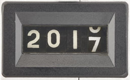 Konzept von 2017, neues Jahr Schließen Sie oben von den Stellen eines mechanischen Zählwerks Stockbilder