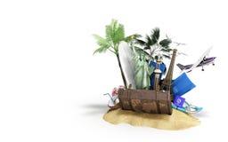 Konzept von Reise- und Tourismusanziehungskräften und von braunem Koffer vektor abbildung