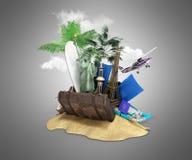 Konzept von Reise- und Tourismusanziehungskräften und von braunem Koffer für lizenzfreie abbildung