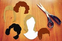 Konzept von verschiedenen weiblichen Haarschnitten Stockbilder