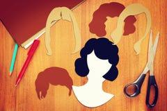 Konzept von verschiedenen weiblichen Haarschnitten stockfoto