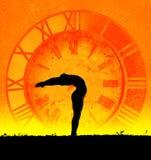 Konzept von Yoga und von Zeit lizenzfreie stockfotos
