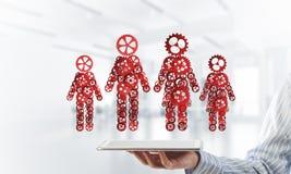Konzept von Zusammenarbeit oder möglicherweise Familie mit zwei Zahlen, die Paare und Beziehungen darstellen Lizenzfreie Stockbilder