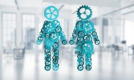 Konzept von Zusammenarbeit oder möglicherweise Familie mit zwei Zahlen, die Paare und Beziehungen darstellen Stockfotos