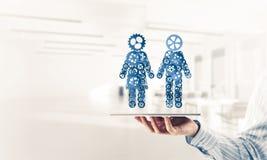 Konzept von Zusammenarbeit oder möglicherweise Familie mit zwei Zahlen presenti Lizenzfreies Stockbild