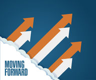 Konzept vorwärts bewegen Pfeile, die hochschieben Stockbild