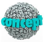 Konzept-Wort-Buchstabe-Ball-Bereich-Ideen-Entwicklung Lizenzfreies Stockfoto